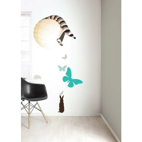 Kek Amsterdam De vinilo etiqueta de la pared Set 'MUCHACHOS Butterfly', azul / marrón