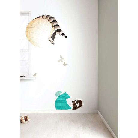 Kek Amsterdam Vinyle 'BOYS Bear' Wall Sticker Set, bleu / marron