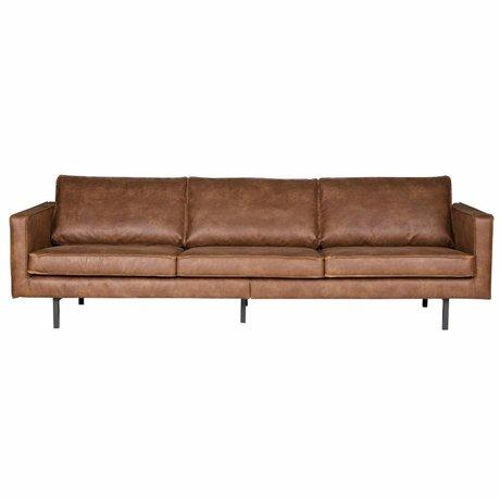 BePureHome Banco Rodeo 3 asiento 78x274x87cm cuero marrón coñac