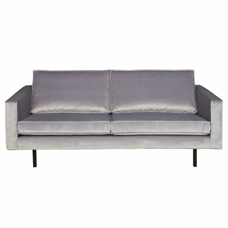 BePureHome Bank Rodeo siège 2,5 velours gris clair velours 190x86x85cm