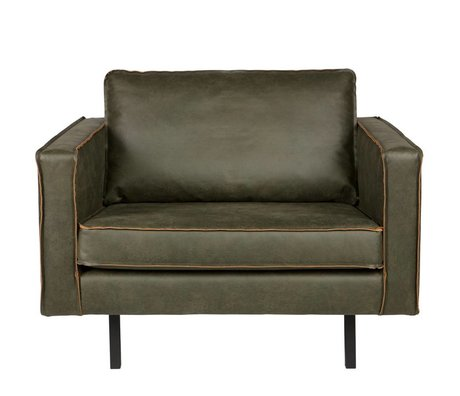 BePureHome Armchair Rodeo army green leather 105x86x85cm