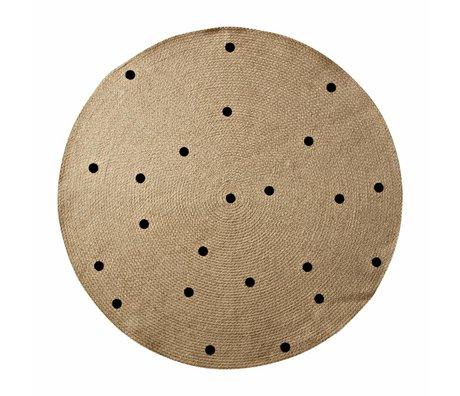 Ferm Living Teppich Dots um natürliche schwarze ø100cm