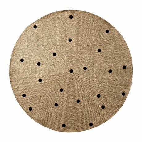Ferm Living Tæppe Dots til naturlig sort ø100cm