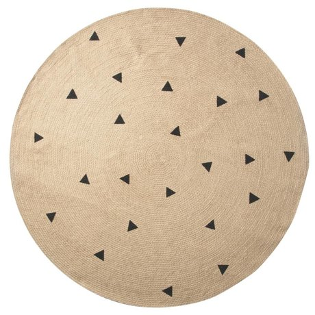 Ferm Living Carpet trangles to natural black ø130cm