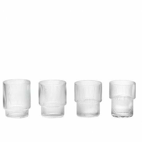 Ferm Living Ripple verre ø8,8x7cm en verre transparent ensemble de 4