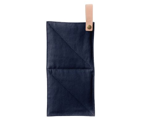 Ferm Living Pot canvas blue textile 16x26cm