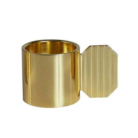 OYOY Candlestick ART HEXAGON brass gold metal ⌀7,6x4,3cm