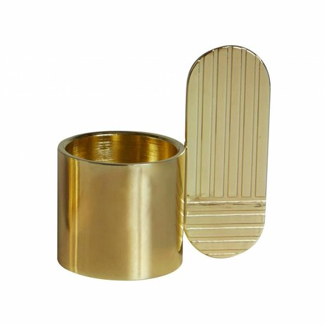 OYOY Candlestick ART OVAL brass gold metal ⌀7,5x8cm