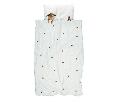 Duvet Furry Friends blanc de flanelle de coton brun 240x200 / 220cm