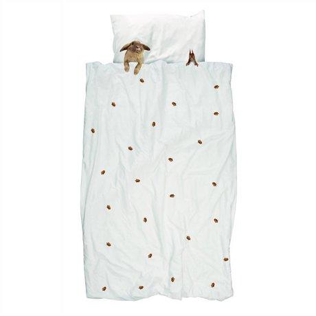 Dyne Furry Friends hvid brun flannel bomuld 200x200 / 220cm