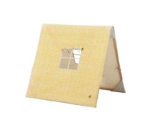 Ferm Living Vara plegable tienda de curry amarillo de algodón / 100x100xcm madera