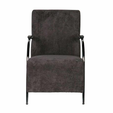 LEF collections Halifax fauteuil gris anthracite en nervurée textile 90x56x85cm