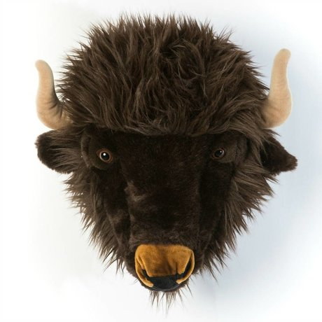 Wild and Soft Animal buffalo Alex gray textile 35x39x30cm