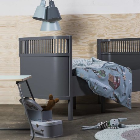 Sebra Lit bébé en bois gris foncé 112,5x70x88cm