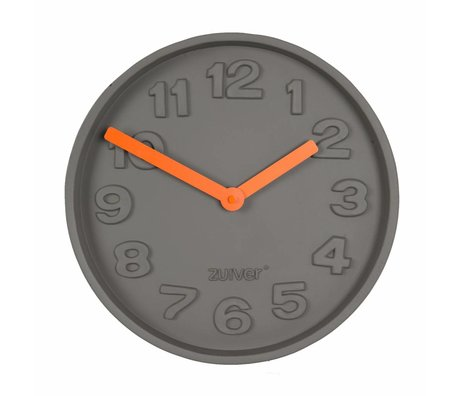 Zuiver Concrete TimeClock orange, gray with aluminum orange pointer 31,6x31,6x5cm