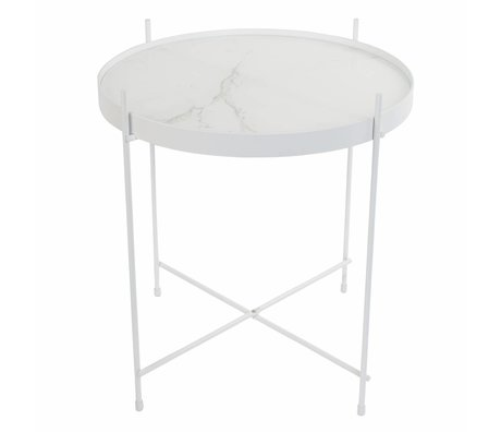 Zuiver Table d'appoint Amor marbre blanc, métal blanc Ø43x45cm