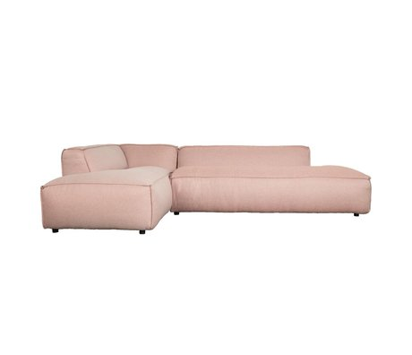 Zuiver Bank Fat Freddy 3 places long gauche en plastique rose 308x103 / 88x72cm