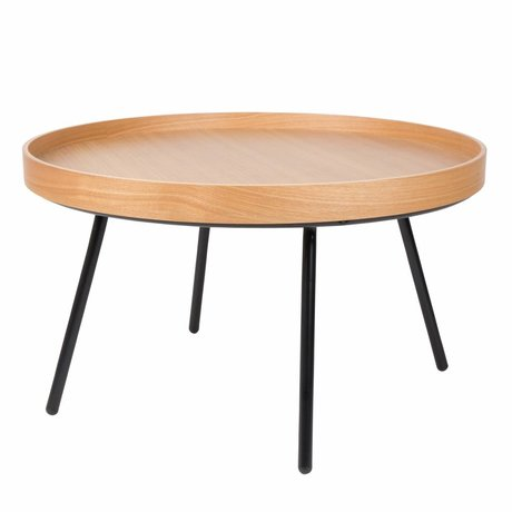 Zuiver bandeja de mesa baja de roble, madera Ø78x45cm