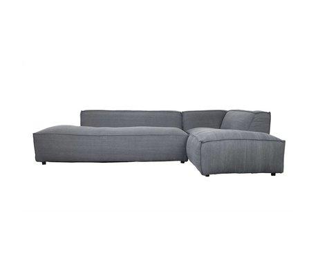 Zuiver Banco Fat Freddy 3 plazas derecha larga gris oscuro tela plásticas 308x103 / 88x72cm
