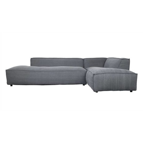 Zuiver Bank Fat Freddy 3 seater Long right dark gray fabric plastic 308x103 / 88x72cm