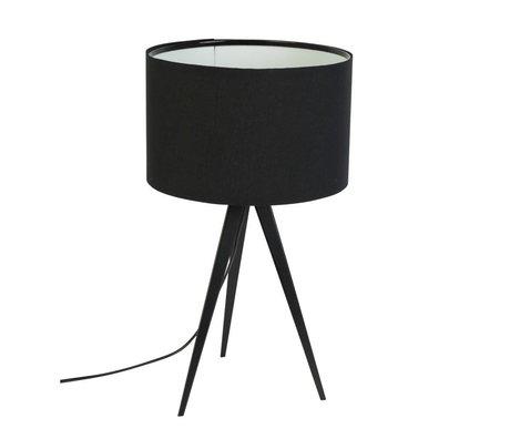 Zuiver Trípode lámpara de mesa de metal, textil negro 28x51cm