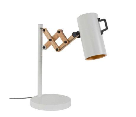 Zuiver Lámpara de mesa de madera de acero Flex 22x29,5-45x50cm blanco