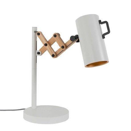Zuiver Bordlampe Flex Stål Træ hvid 22x29,5-45x50cm