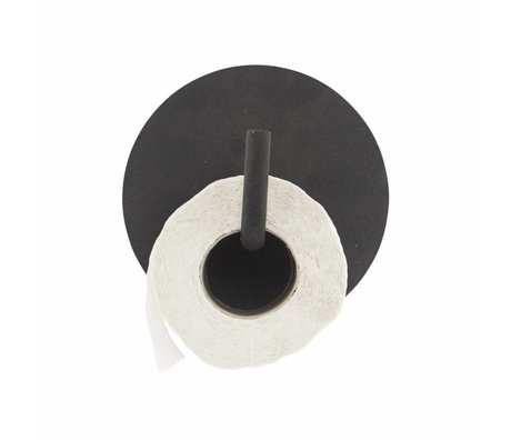 Housedoctor Toilet roll holder Text aluminum black ø13x12.5cm