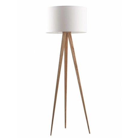 Zuiver Lámpara de pie trípode de madera, natural / blanco, 151x50cm