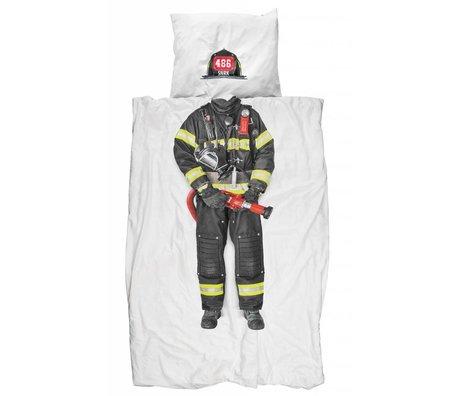 Snurk Linen 'pompier' de coton, blanc / multicolore, 140x200 cm