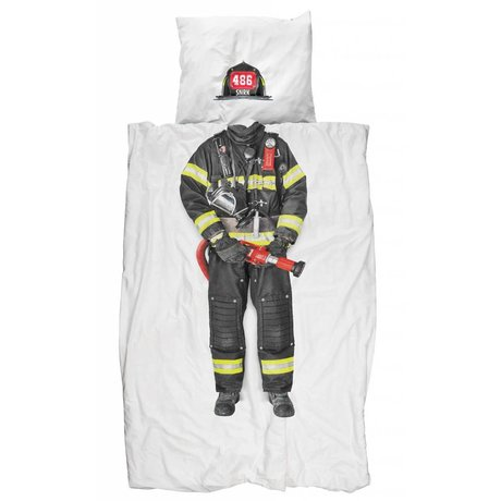 Snurk Linen 'fireman' of cotton, white / multicolor, 140x200 cm