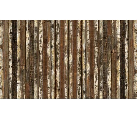 "Piet Hein Eek Wallpaper 'Scrapwood 13 ""paper, brown / white, 900 x 48.7 cm"