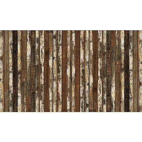 """Piet Hein Eek Tapete 'Scrapwood 13"""" aus Papier, braun/weiß, 900 x 48,7 cm"""