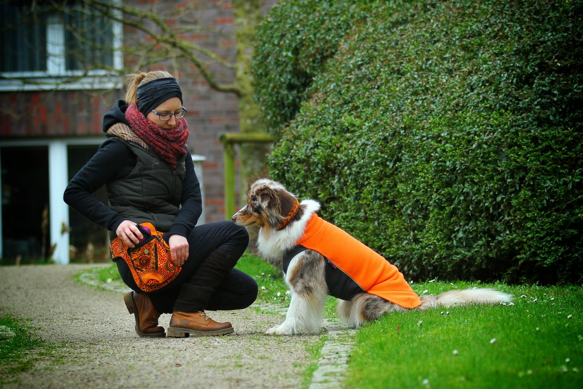 Doppel Hip Bag für Hundebesitzer orange rot