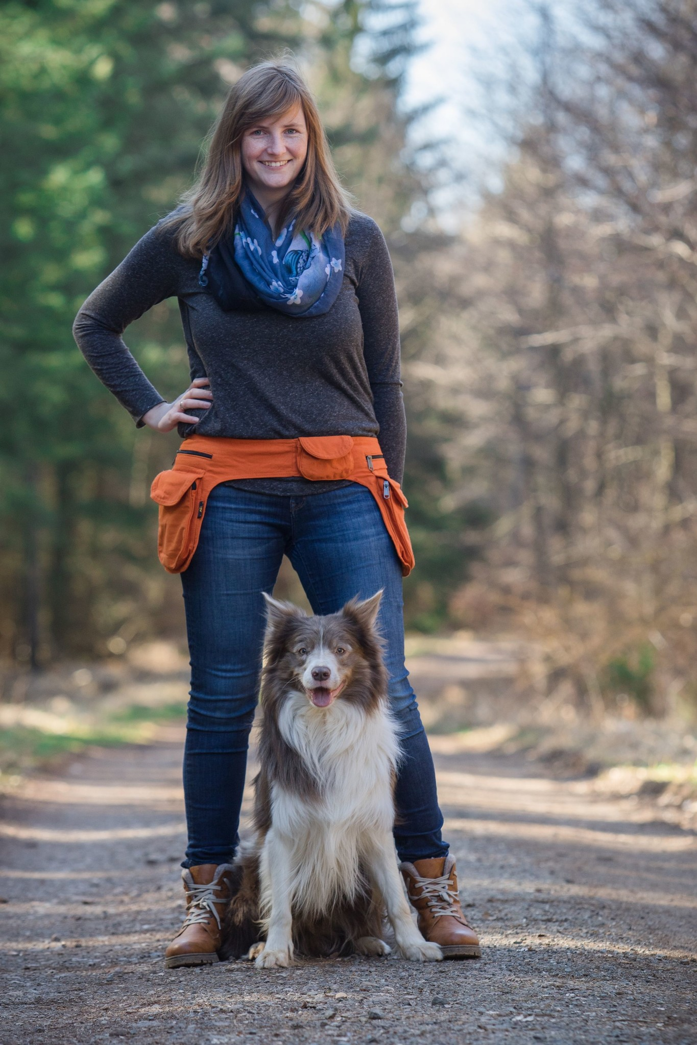 Doppel Hip Bag für Hundebesitzer - light orange