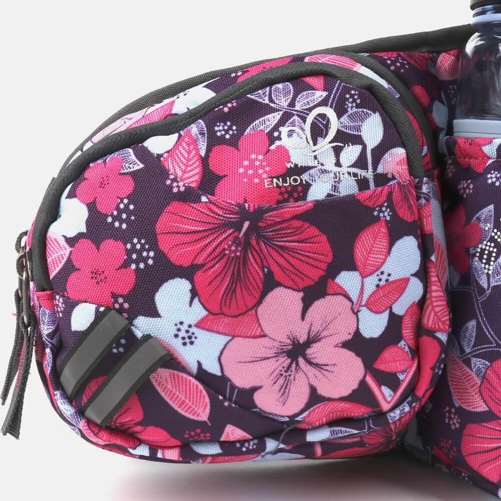 Gürteltasche mit Wasserflaschenhalter pink gemustert