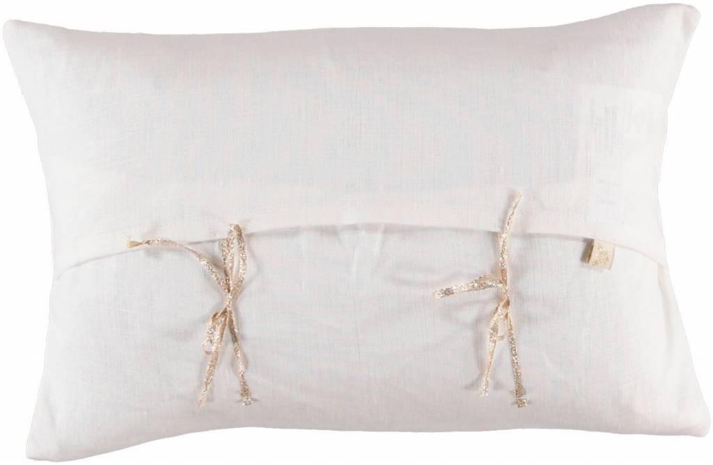 ATSUYO ET AKIKO merci letter cushion milky white + gold foil
