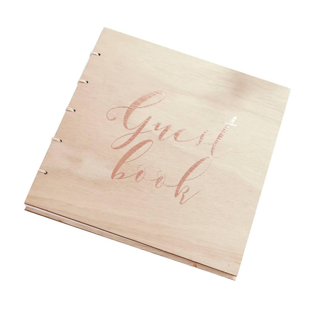 GINGERRAY Guest Book - Wooden - Rose Gold