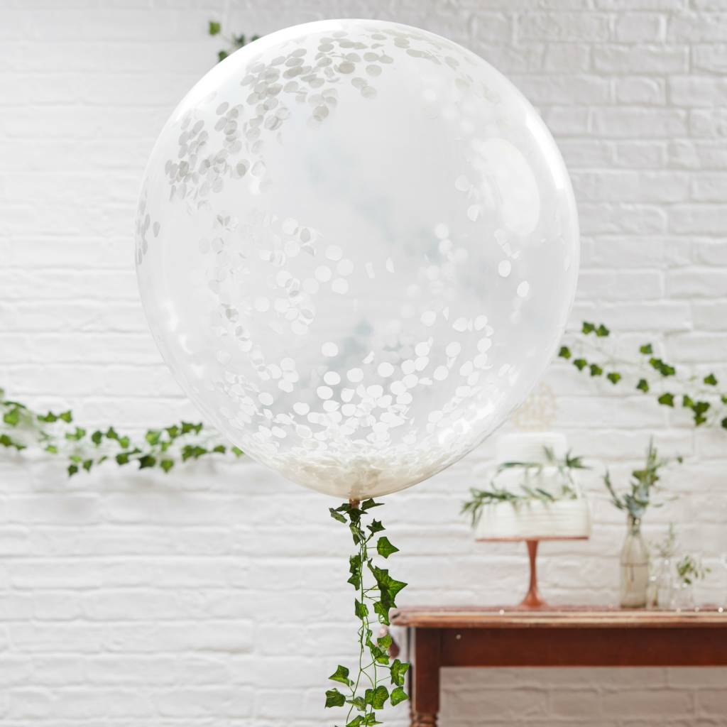GINGERRAY Balloons - Huge - White Confetti