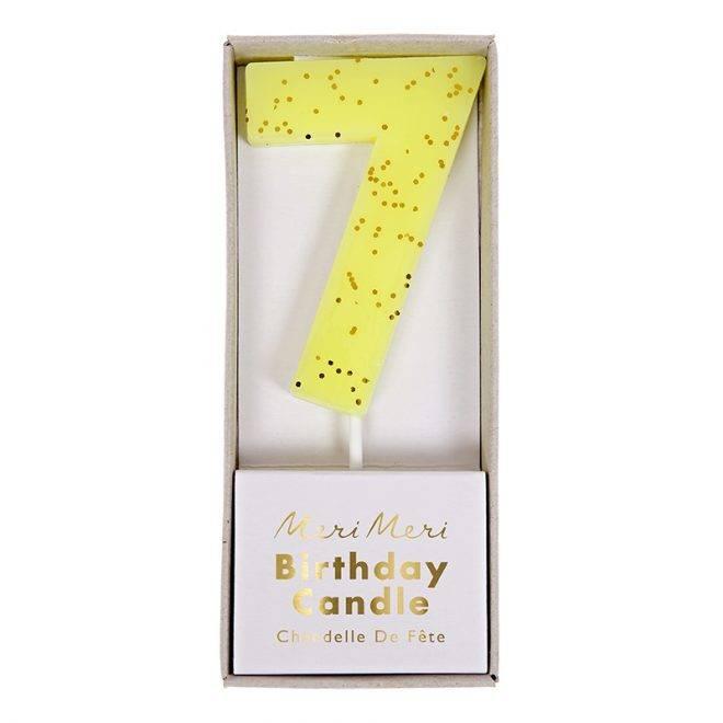 MERIMERI Yellow number 7 candle