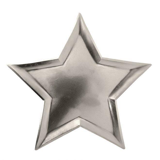 MERIMERI Silver star foil plates