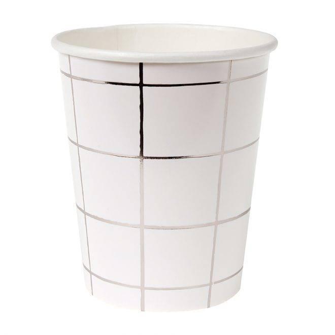 MERIMERI Silver grid party cups