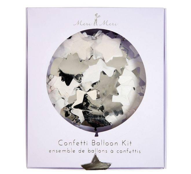 MERIMERI Silver star confetti balloon kit