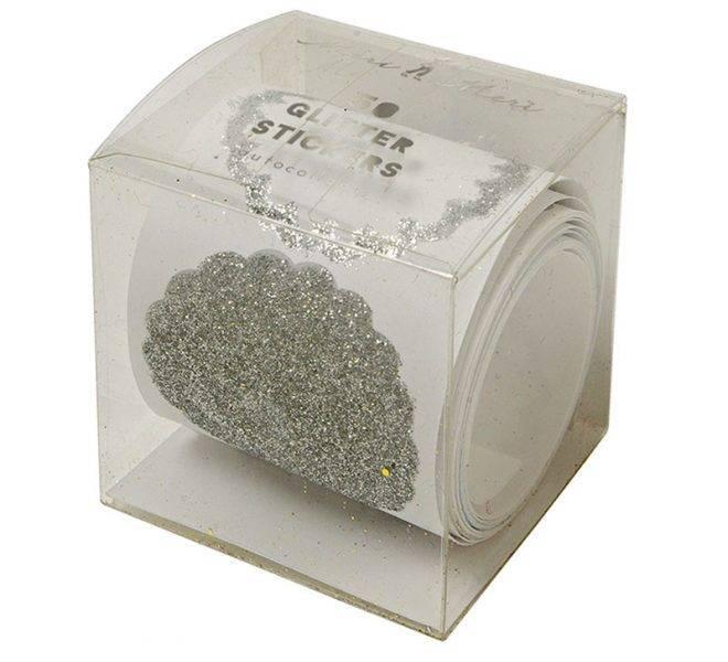 MERIMERI Roll of 50 silver glitter stickers