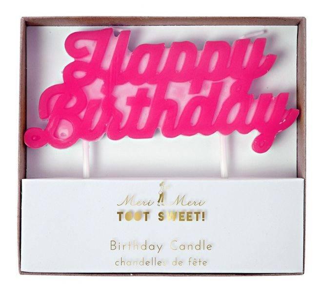 MERIMERI Pink happy birthday candle