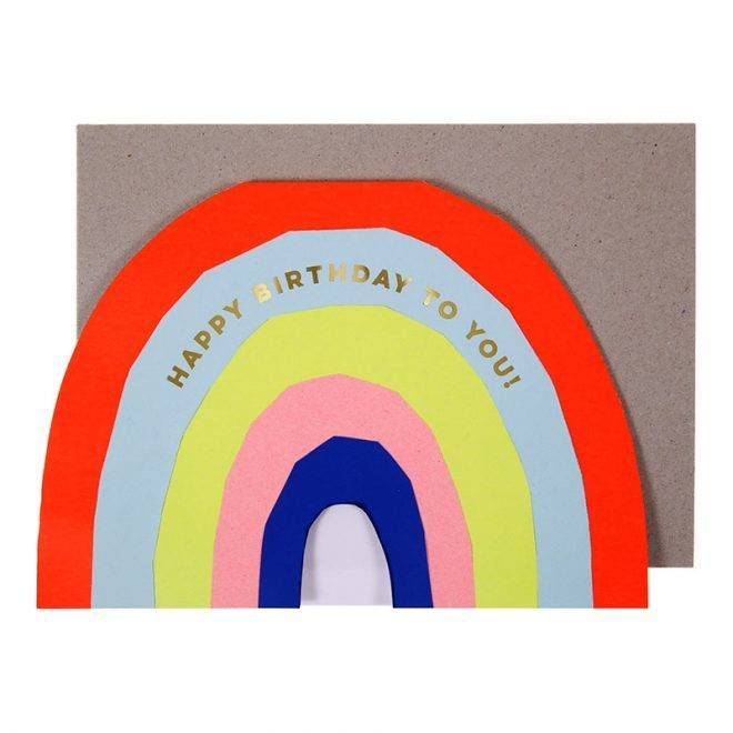 MERIMERI Neon rainbow birthday card