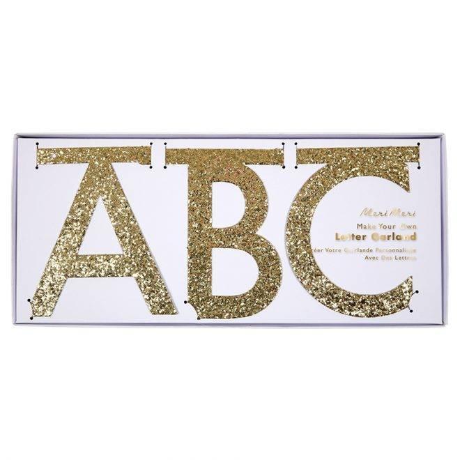 MERIMERI Gold glitter letter garland kit