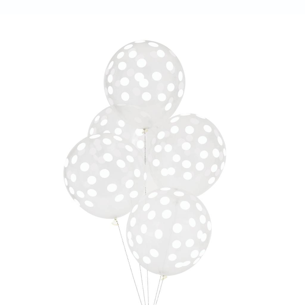 MY LITTLE DAY 5 white confetti balloons