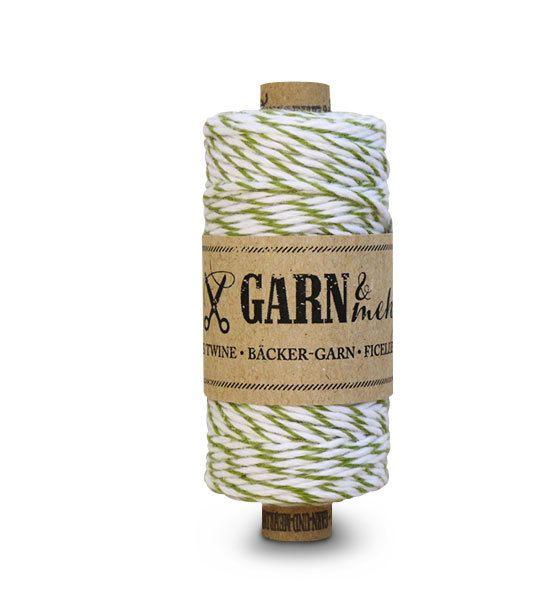 Garn & Mehr bakers twine moss green- white