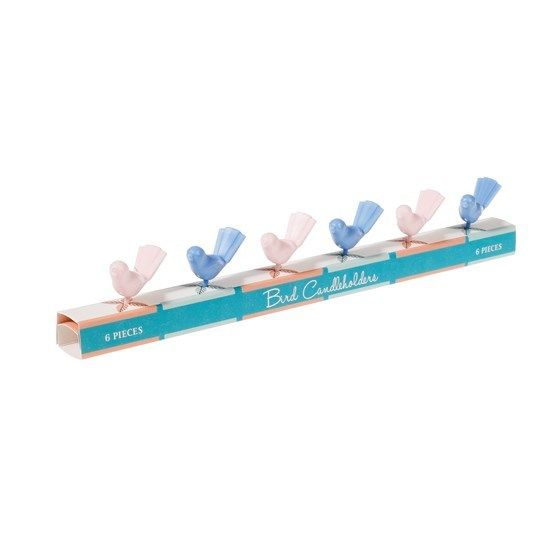 RX set of 6 pastel bird candleholders